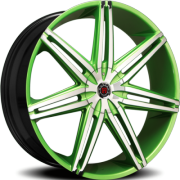 Morder MS-648 Green Wheels with Chrome Face